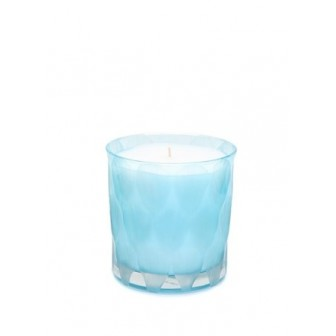 Blue Chry cut big blue glass Candle