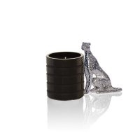 Cheetah black glass candle