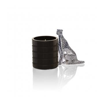 Cheetah black glass candle