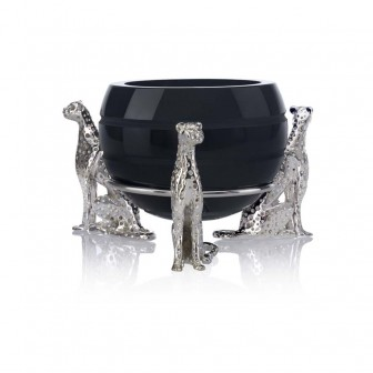 Glass Bowl with 3 cheetah figures