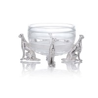 Glass Bowl with 4 cheetah figures