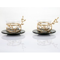 Gold Bud detailed Coffee cup set of 2