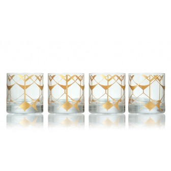 Ethnic pattern whiskey glass set of 4