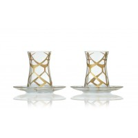 Ethnic pattern tea glass set of 2