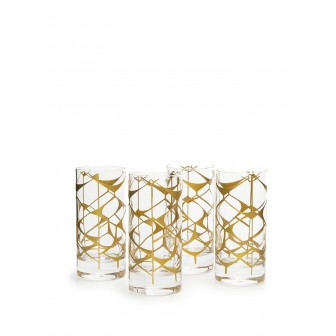 Ethnic pattern water glass set of 4