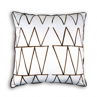African lines white cushion decorative pillow