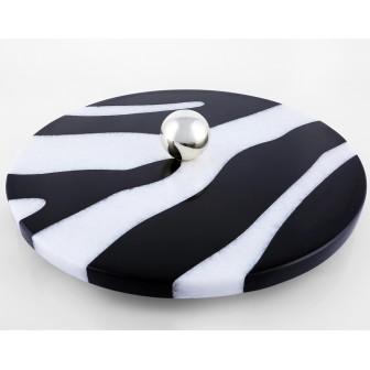 Zebra brown&white marble serving platter